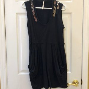 Oonagh black cotton dress with sequin collar